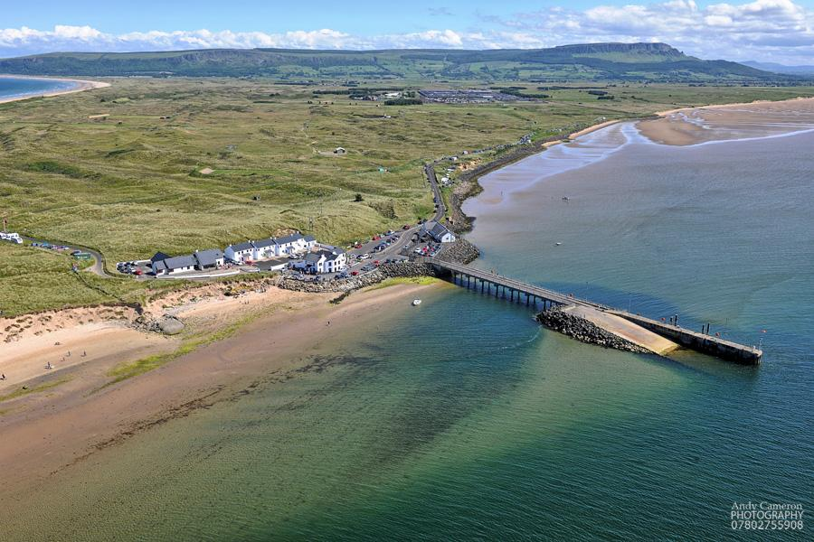 Aerial image of Magilligan Point and the Point Bar with Binevenagh and Benone beach in the background. Photo by Andy Cameron